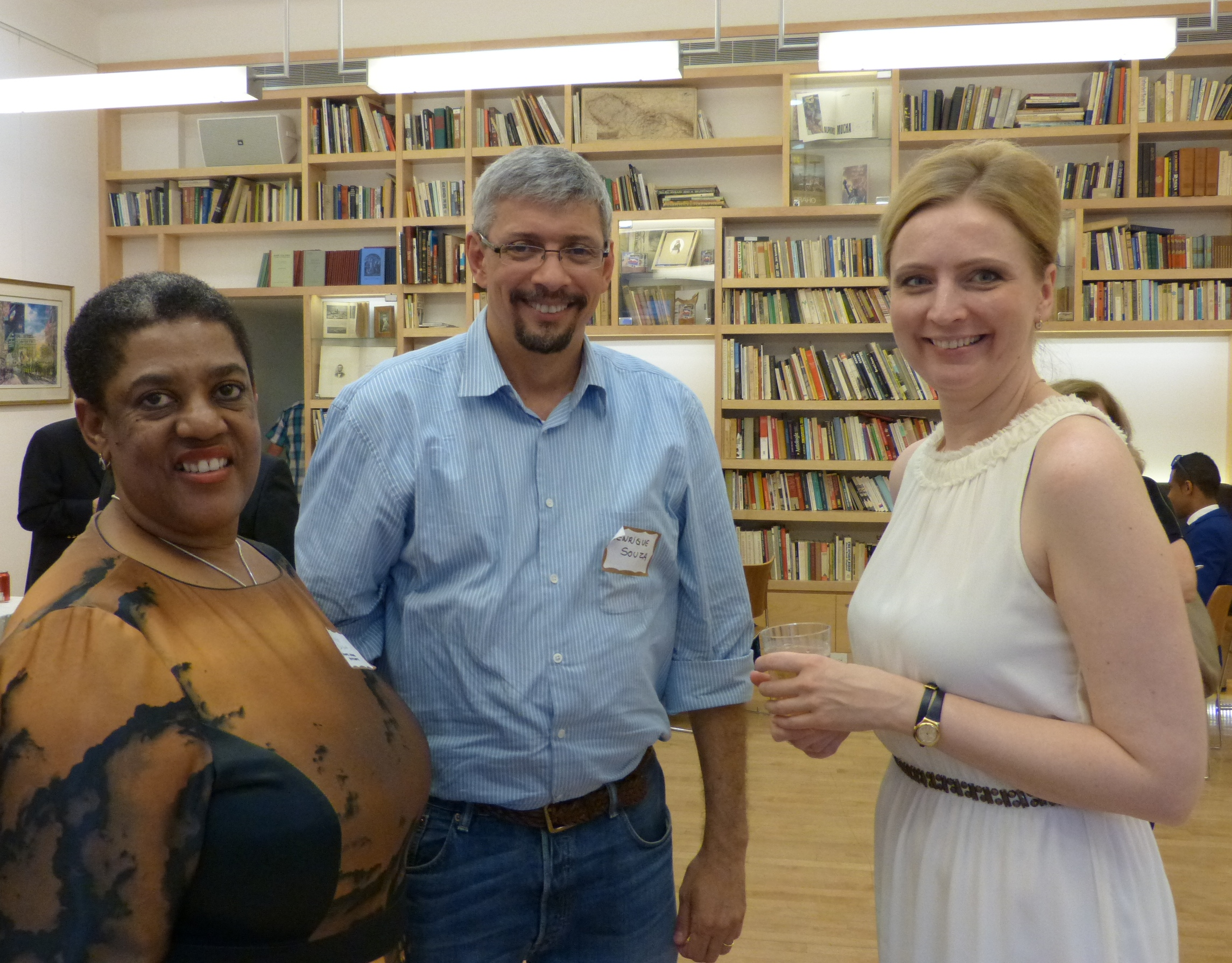 Three GBI summer school students enjoy the opening reception, from left to right: Pinki Chirwa, Henrique Souza, and Jana Zuscinova