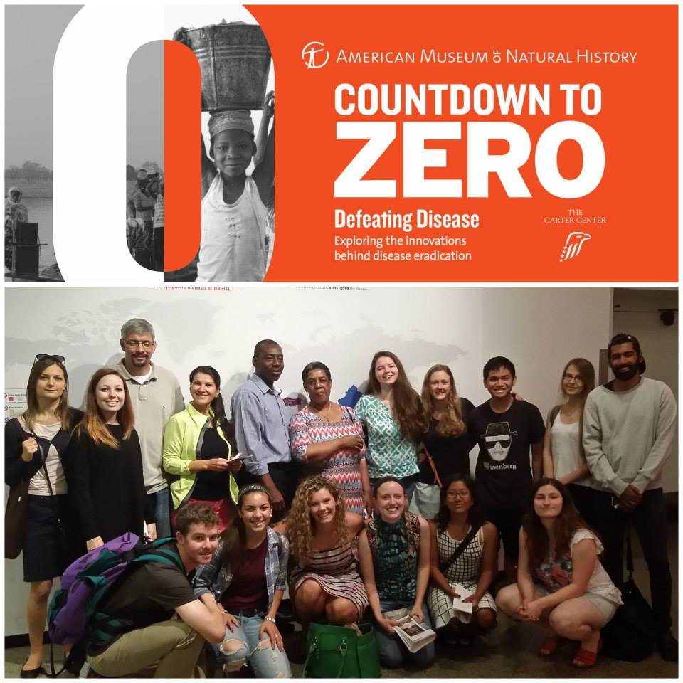 Summer school students enjoy the Countdown to Zero: Defeating Disease Exhibition at the American Museum of Natural History for the second field trip of the Bioethics Summer School.