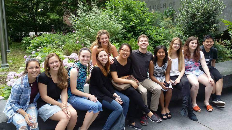 Summer school students enjoy the lovely weather during their second field trip to the American Museum of Natural History.