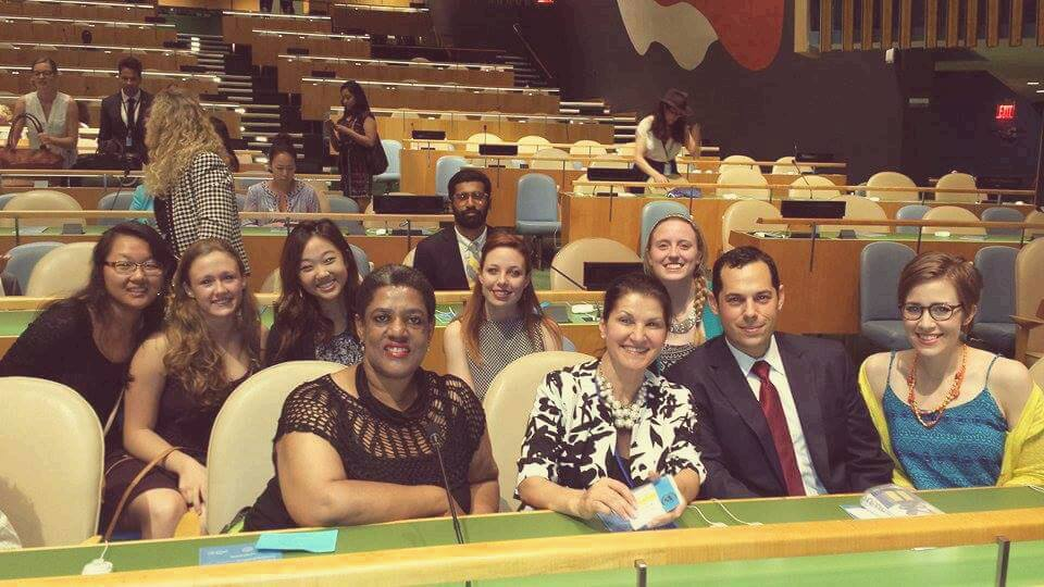 Dr. Ana Lita, Dr. Bruce Gelb, and the summer school students in the General Assembly Hall in the United Nations Headquarters for the 70th anniversary of the signing of the U.N. charter.