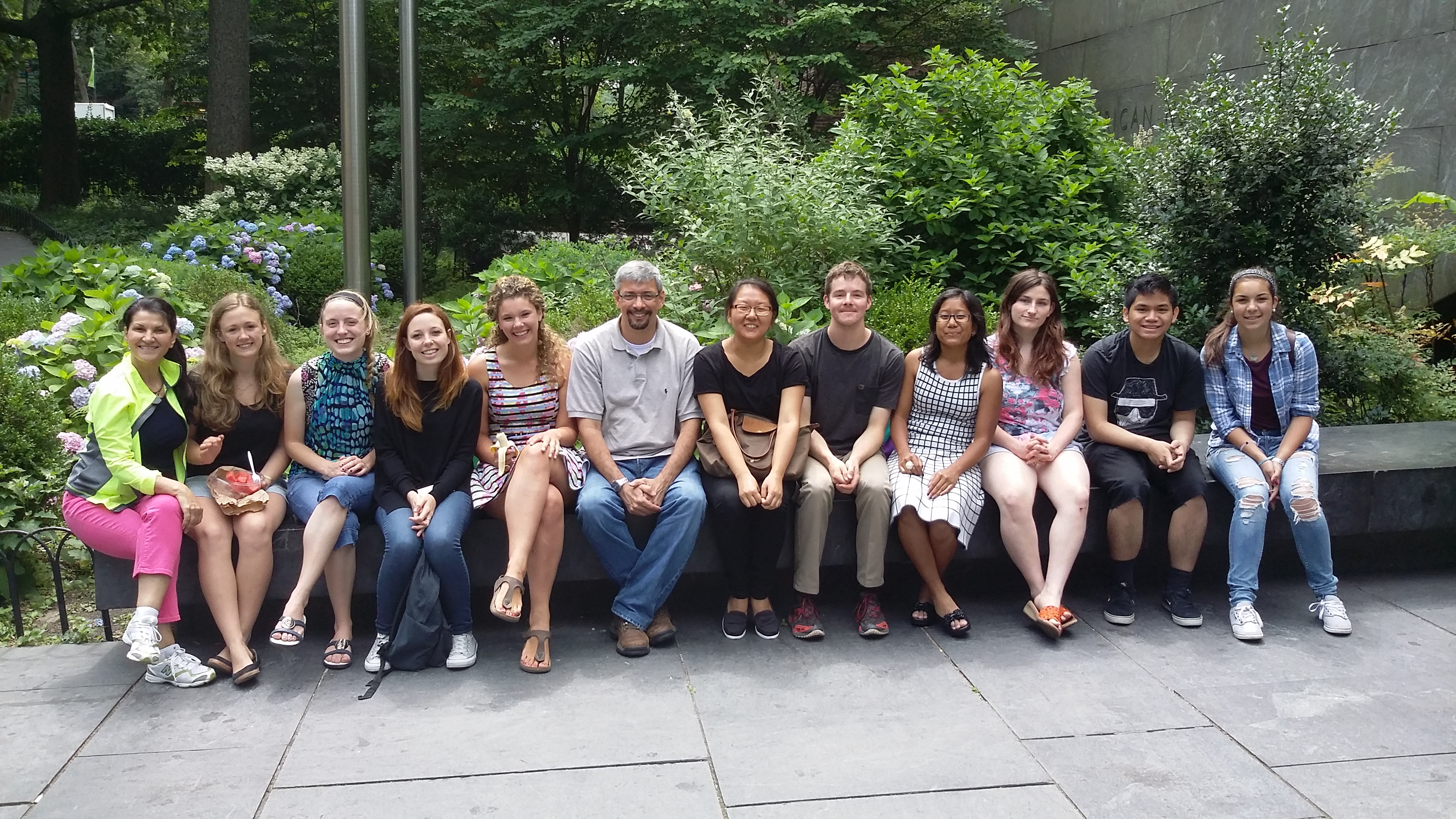 Summer school students enjoy the lovely weather outside of the American Museum of Natural History during their second field trip.