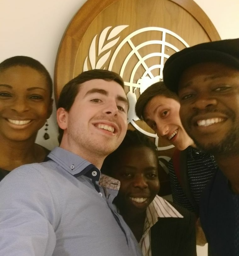Field trip to the United Nations Headquarters. From left to right: Vivian Gasu, Rory O'Connor, Termaine Chizikani, Nicholas Damianos, Anaeke Chinonye